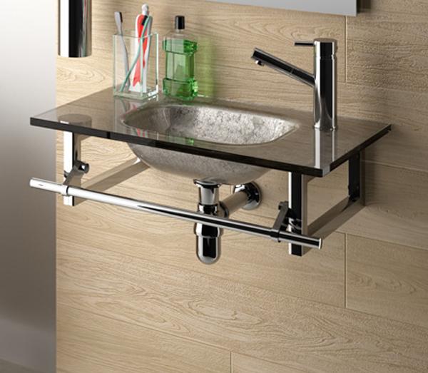 Lavabos Para Baños Cristal:Pensado para baños pequeños, el lavabo de cristal de fondo reducido
