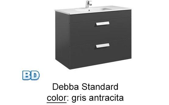 Mueble Baño Gris Antracita:Mueble de baño Unik Debba Standard 2 cajones