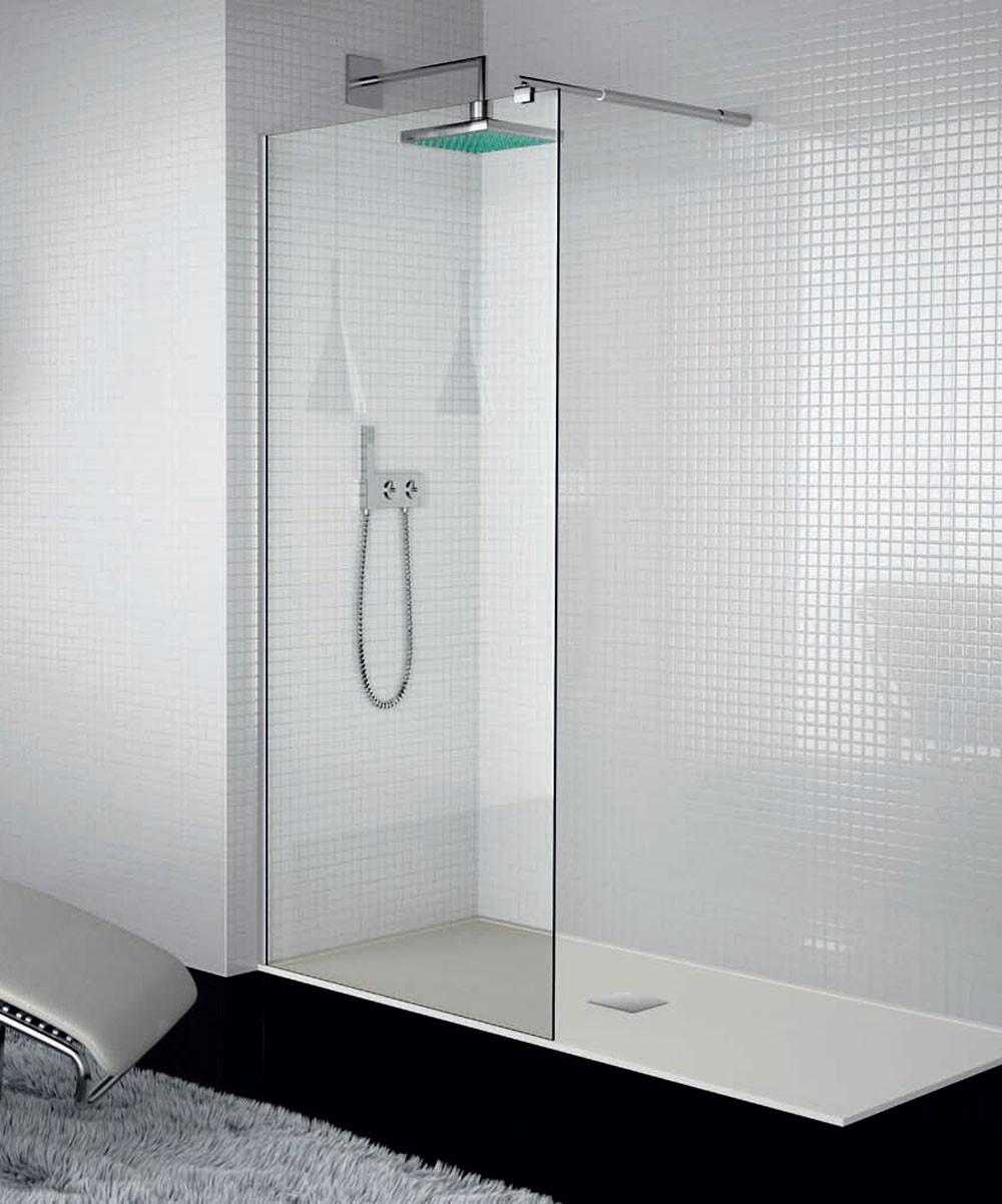 Mampara de ducha cristal fijo con tirante a pared - Duchas y mamparas ...