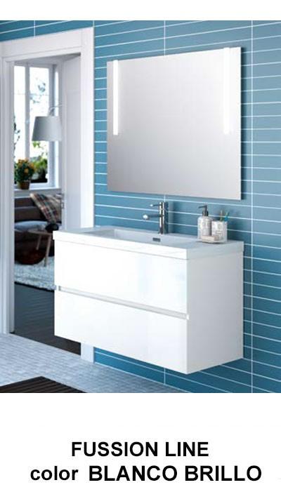 Muebles Baño Blanco Brillo:Mueble de baño Fussion Line 2 cajones de Salgar
