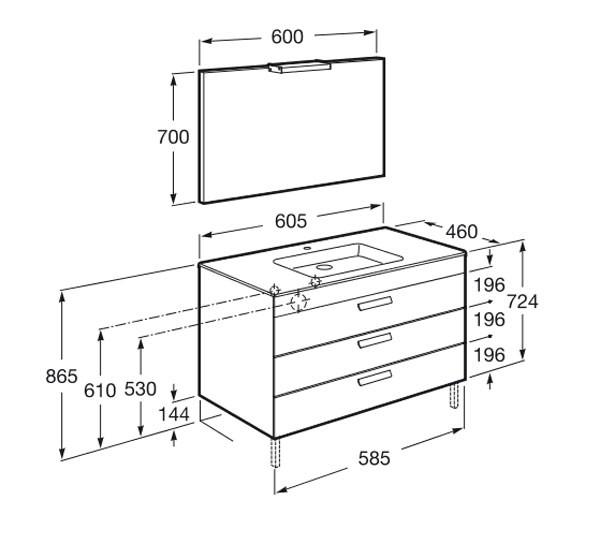 Muebles Baño Medidas Reducidas:Mueble de baño Pack Debba Standard 3 cajones – Roca