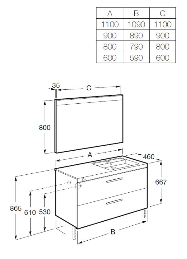 Mueble de baño Prisma 2 cajones - Ítem6