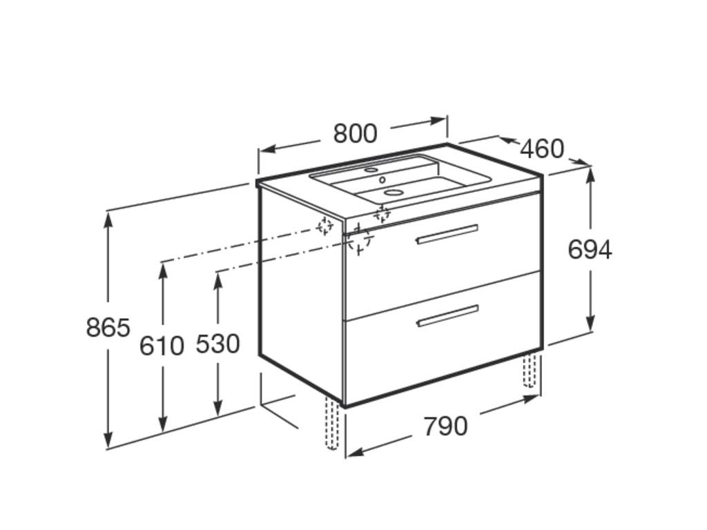 Muebles Baño Medidas Reducidas:Mueble y lavabo Unik Prisma 2 cajones Roca