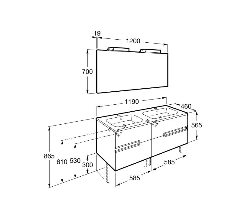 Medidas Griferia Baño:Mueble de baño con doble lavabo Victoria-N