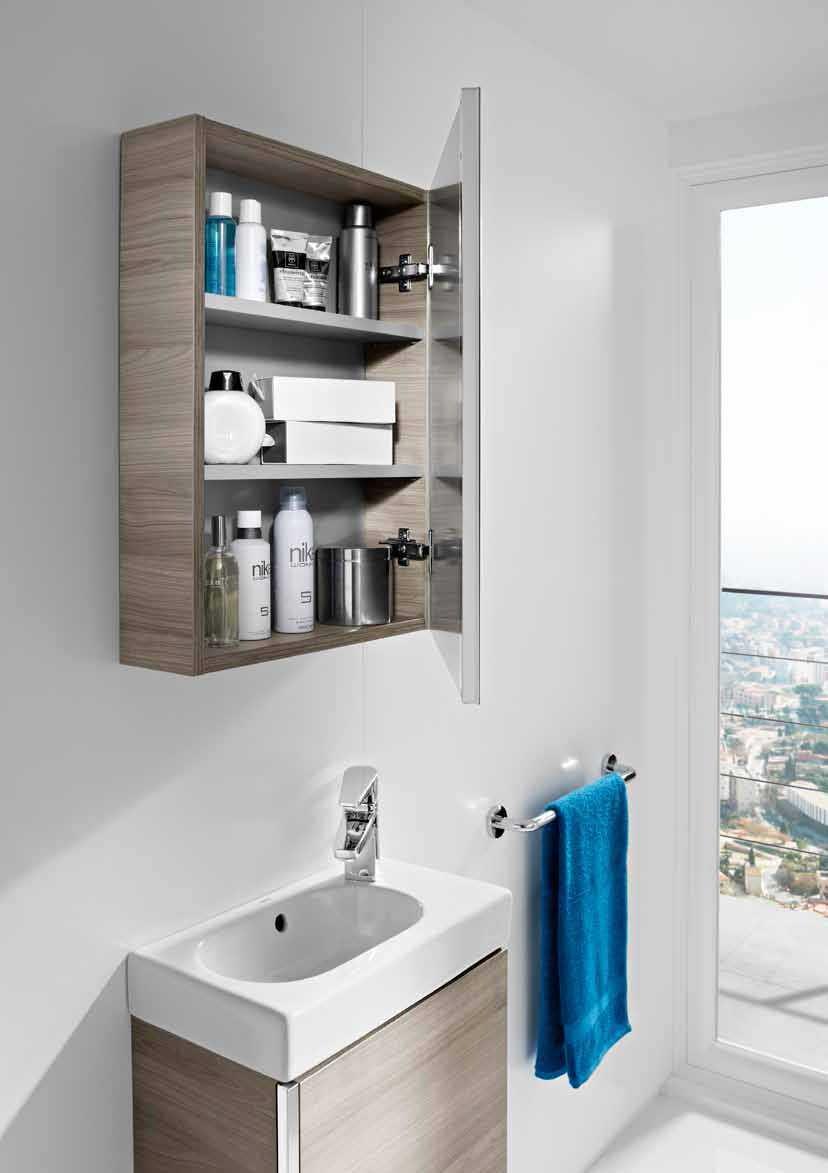 Mueble mini con armario espejo roca ba o decoraci n for Mueble espejo bano ikea