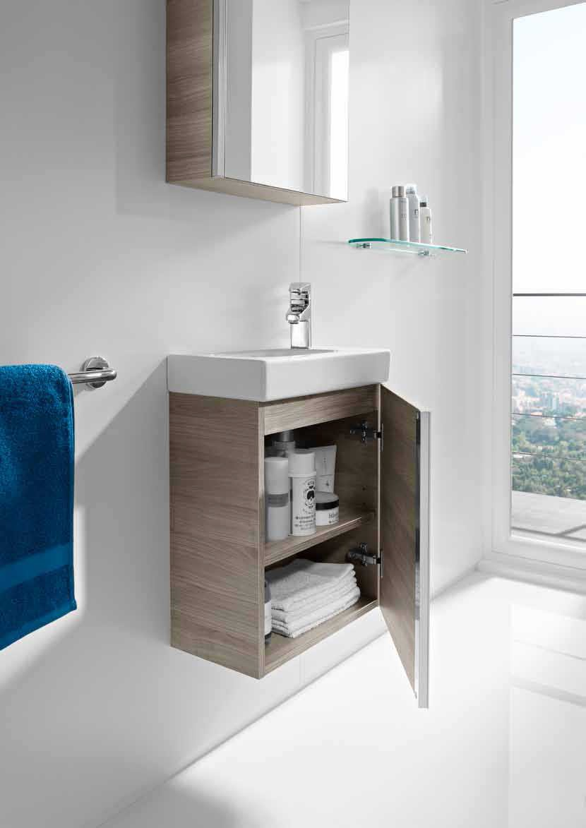 Mueble de ba o mini con armario espejo roca for Mueble lavabo 50 ancho
