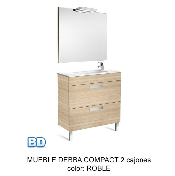 Mueble Baño Blanco Fondo Reducido:Mueble de baño Pack Debba 2 cajones, fondo reducido