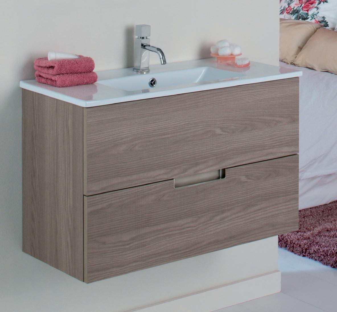 Mueble de ba o evora 1 caj n madero for Muebles de bano de 50 cm