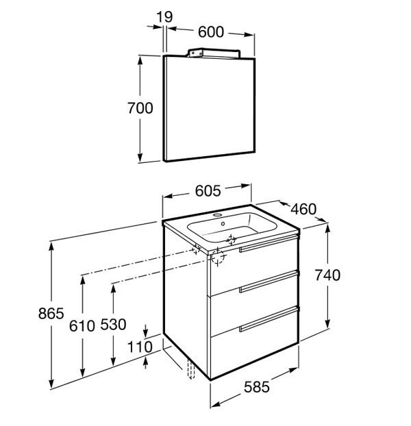 Mueble de baño Roca Family con 3 cajones - Ítem8