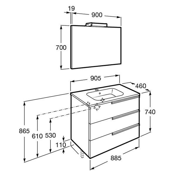 Mueble de baño Roca Family con 3 cajones - Ítem11