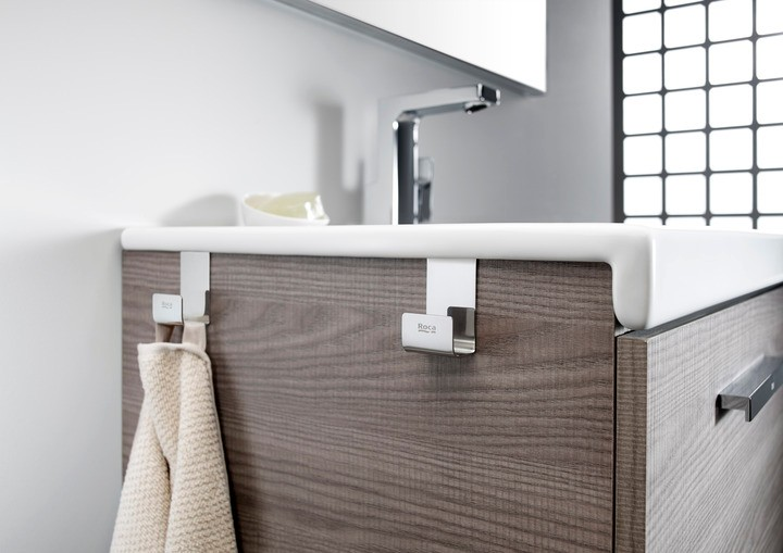 Set 2 colgadores toallas mueble for Colgador toallas para bano