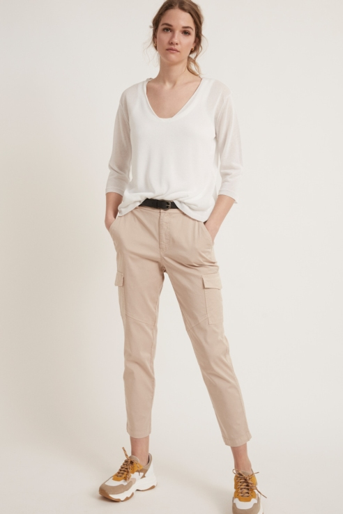 sand cargo pockets trousers
