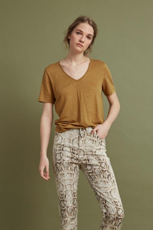 khaki linen t-shirt