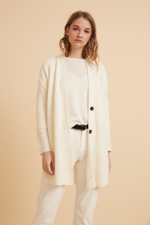 cardigan blanc maille anglaise
