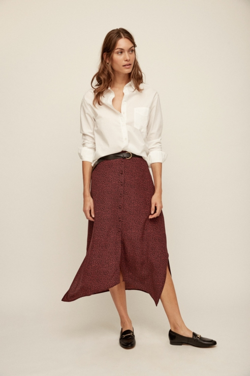 geometric print midi skirt