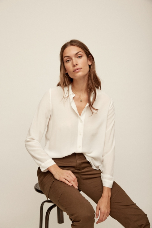 camisa fluida manga larga blanco