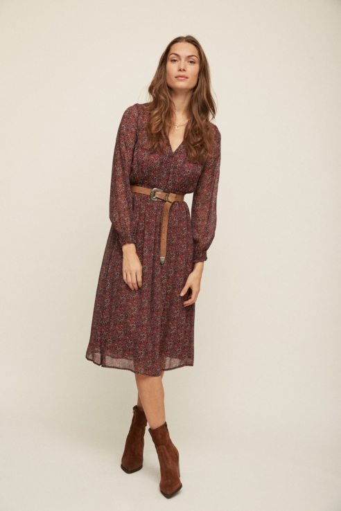 burgundy flower long dress