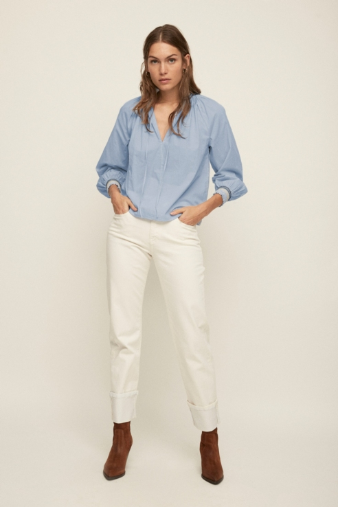 white denim straight trousers