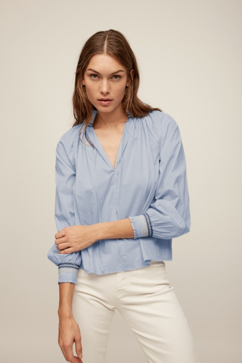 blue turtle neck blouse