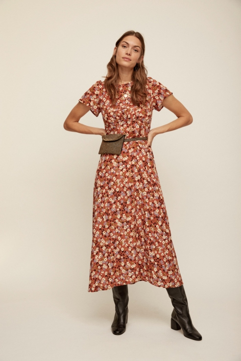 flower printed long dress