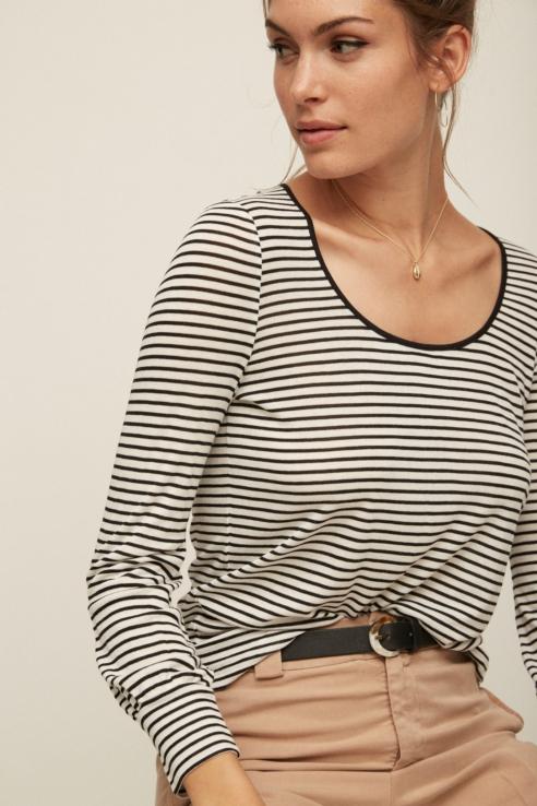 camiseta rayas negro blanco