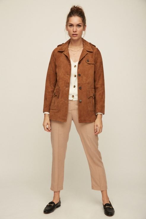suede short trench with pockets