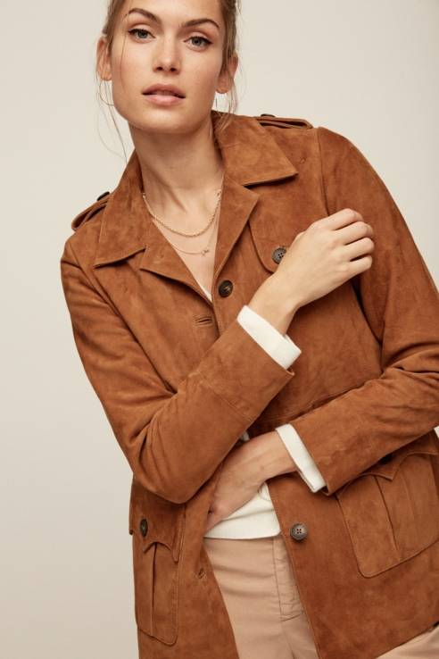 pockets suede trench