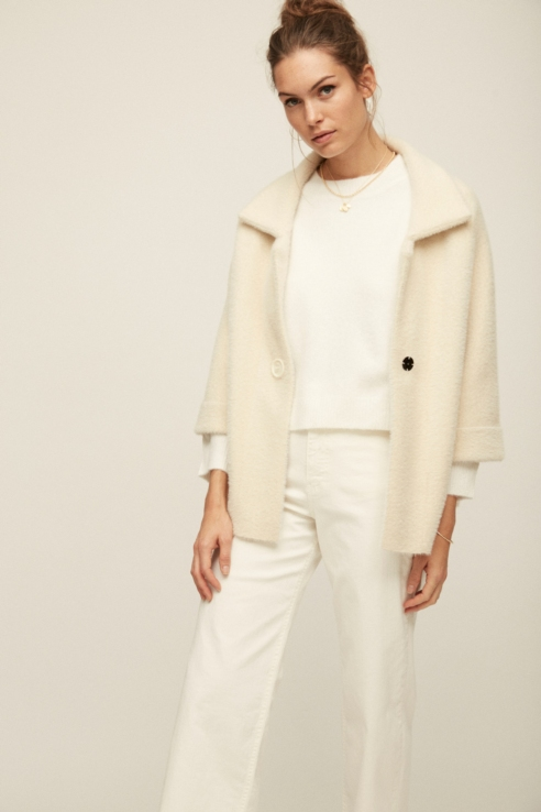 short white faux fur coat