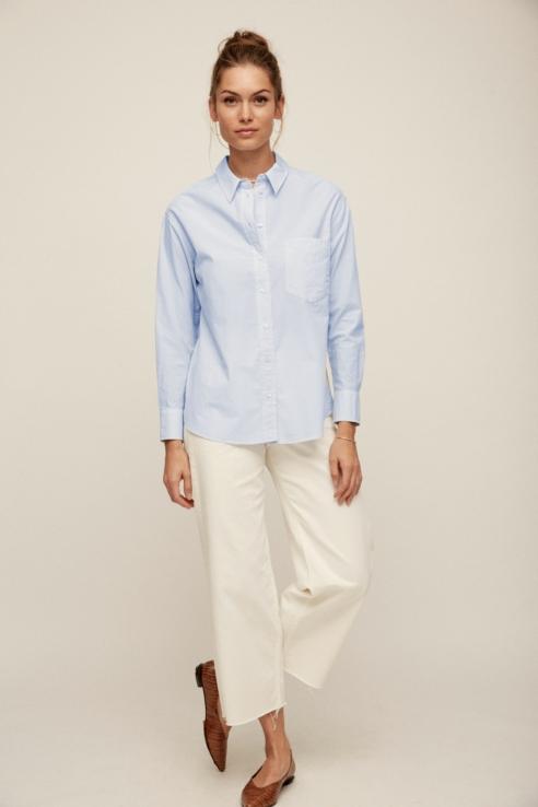 camisa manga larga raya azul