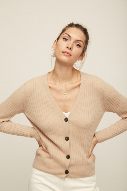 camel long sleeve knit cardigan