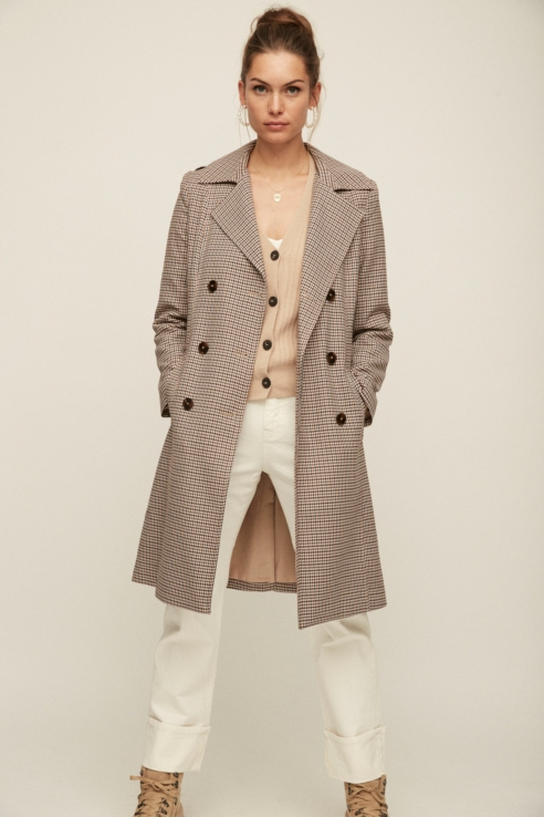 double-breasted buttoned checked trench