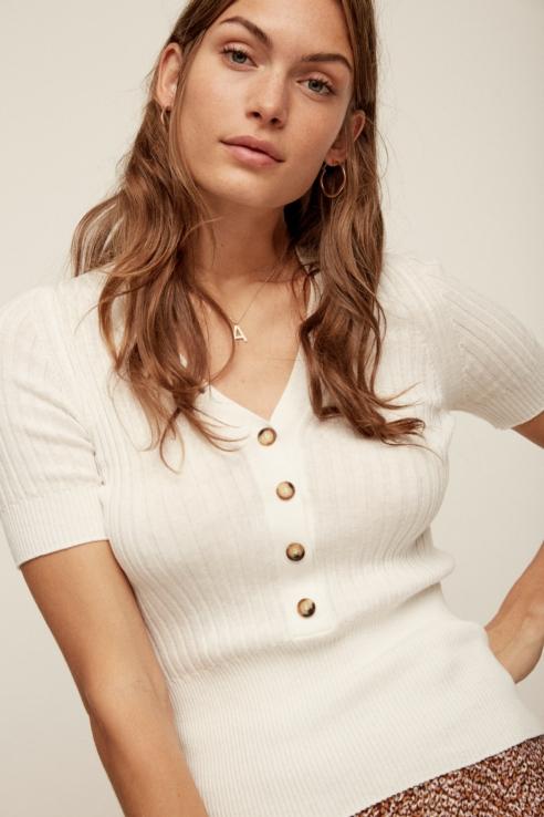 jersey canalé blanco manga corta