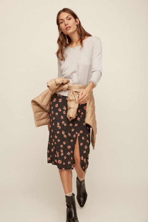 rosebud print midi skirt