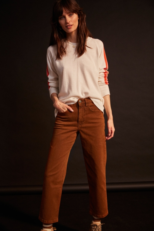 brown mom fit jean trousers