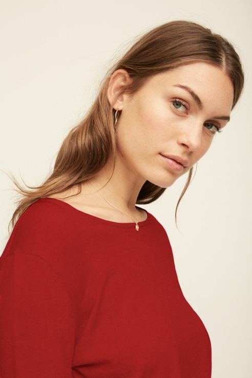 red fine knit sweater