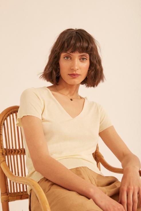 lemon plain stitch sweater