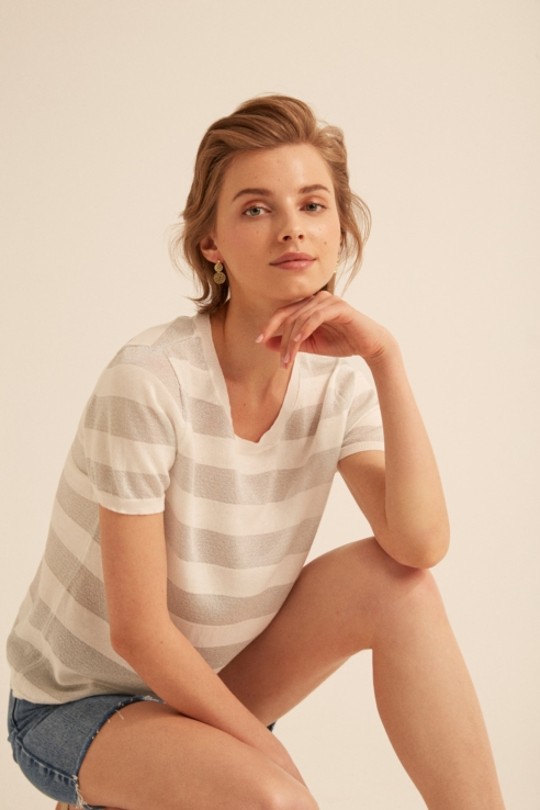 jersey raya blanco plata