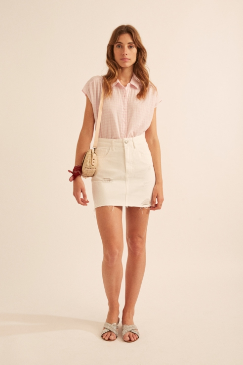 mini falda denim blanco