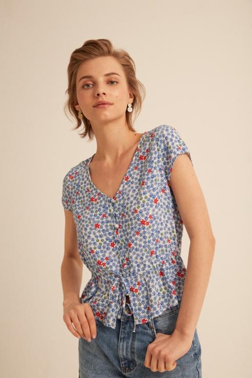 blouse à imprimé fleurs