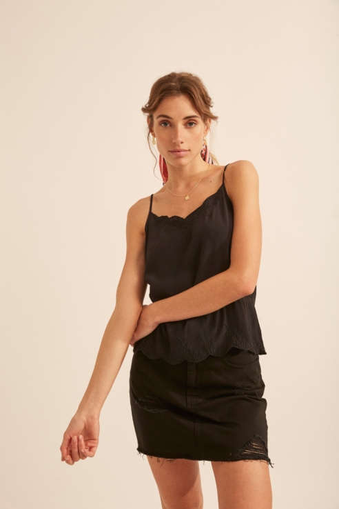 black top with embroidery