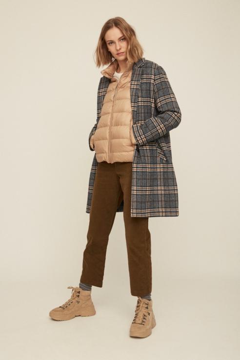 manteau tissu imprimé à carreaux