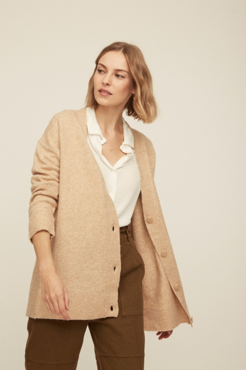 camel maxi cardigan with buttons
