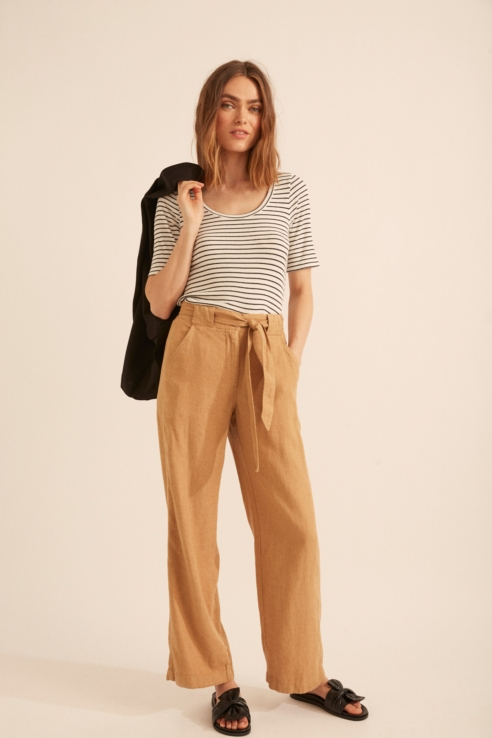 camel linen trousers