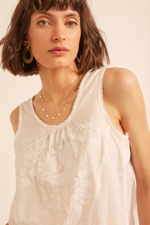 lace edging embroidered top