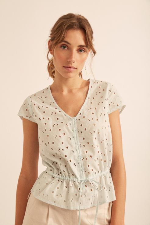 light blue cutwork blouse