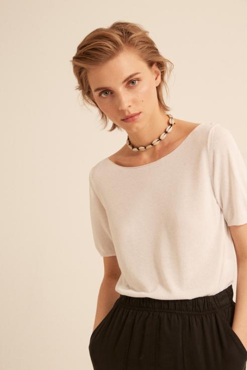 white fine knit sweater