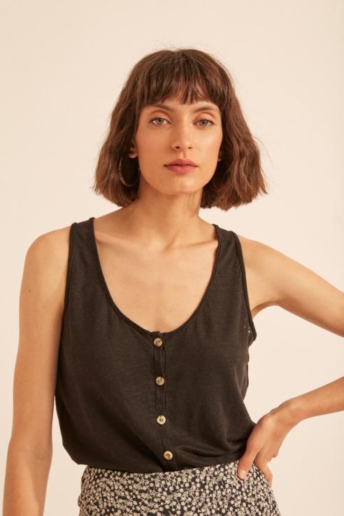 camiseta tirantes lino negro