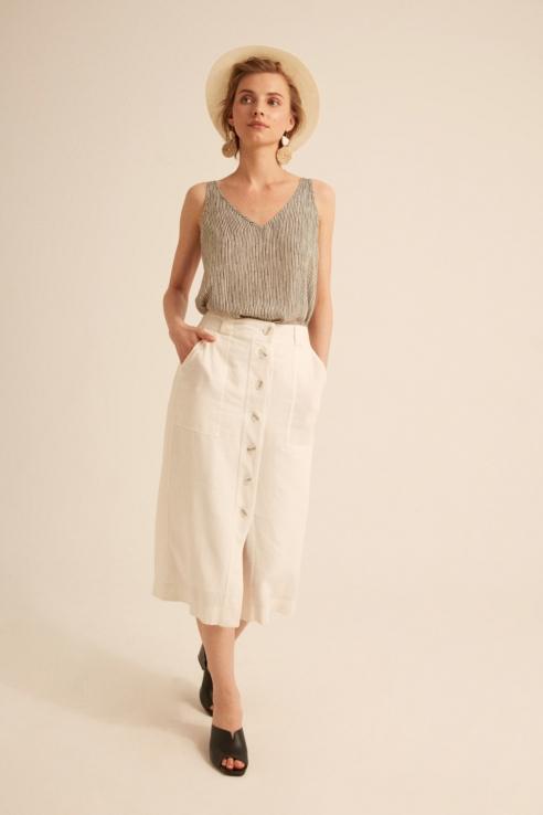falda midi blanca botones