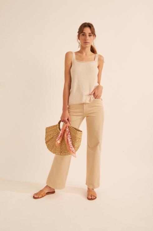 pantalón wide leg beige