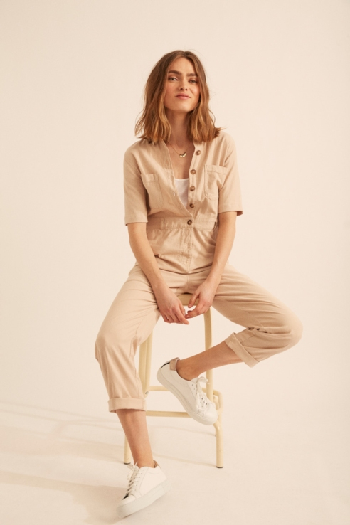 short sleeves jumpsuit with buttons